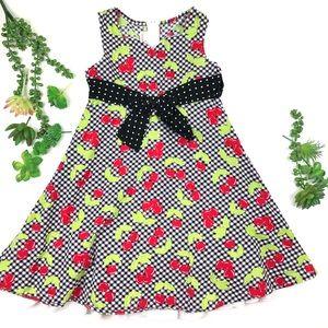 Ashley Ann Plaid Cherries Vintage Dress
